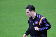 Sacha Kljestan #10 in action during the R.S.C. Anderlecht Training Session held at Constant Vanden Stock Stadium on October 21, 2014 in Brussels, Belgium. Anderlecht and Arsenal will play tomorrow night in their Group D UEFA Champions League match.