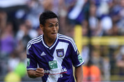 Andy Najar of RSC Anderlecht in action during the Jupiler Pro League match between RSC Anderlecht and Royal Mouscron Peruwelz at Constant Vanden Stock Stadium on July 27, 2014 in Brussels, Belgium.