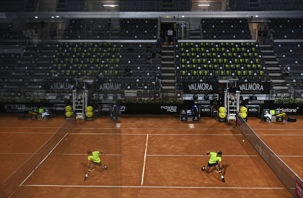 Internazionali BNL D'Italia 2020 - Day Six [sport venue,arena,sports,ball game,tennis court,field house,player,tournament,stadium,tennis equipment,rafael nadal,view,ball,sports,competition,stadium,spain,sport venue,internazionali bnl ditalia,match,stadium,competition,ball]