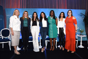 (L-R) EMILY's List President Stephanie Schriock, Amber Tamblyn, Olivia Munn, Melissa Fumero, Kim Foxx, Lisa Ling, and EMILY's List Executive Director Emily Cain pose onstage during Raising Our Voices: Supporting More Women in Hollywood & Politics at Four Seasons Hotel Los Angeles in Beverly Hills on February 19, 2019 in Los Angeles, California.