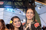 """Actors Auli'i Cravalho (L) and Mandy Moore attend the World Premiere of Disney's """"RALPH BREAKS THE INTERNET"""" at the El Capitan Theatre on November 5, 2018 in Hollywood, California."""