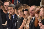 Actress Sienna Miller (6th from left) and Editor in Chief of Vogue Anna Wintour (7th from left),  Former Vogue Creative Director Grace Coddington (2nd from Right) and Vogue's Fashion Market/Accessories Director, Virginia Smith (R) attend the Ralph Lauren Fall 2016 fashion show during New York Fashion Week: The Shows at Skylight Clarkson Sq on February 18, 2016 in New York City.