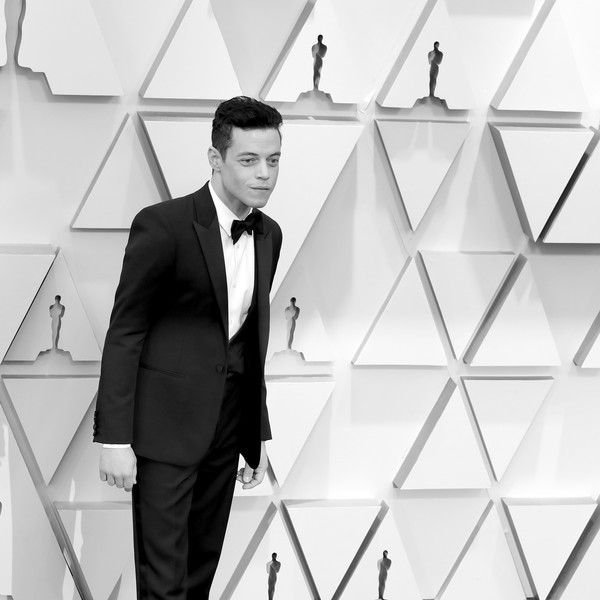 91st Annual Academy Awards - Creative Perspective [image,white,suit,formal wear,white-collar worker,standing,black-and-white,tuxedo,businessperson,architecture,photography,rami malek,academy awards,perspective,hollywood,california,highland,annual academy awards]