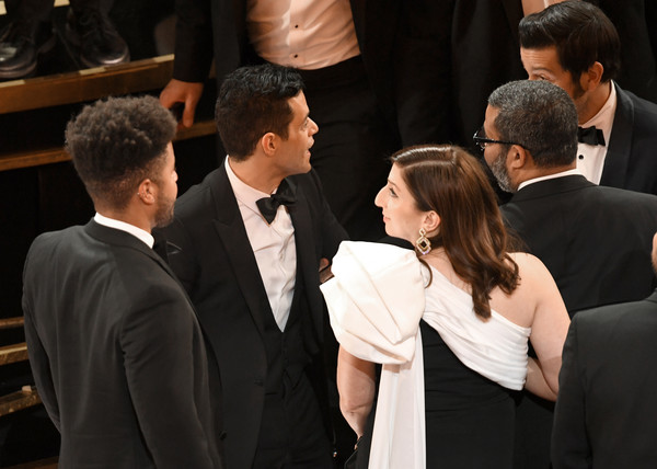 91st Annual Academy Awards - Show [event,suit,interaction,formal wear,ceremony,white-collar worker,gesture,conversation,jordan peele,chelsea peretti,rami malek,academy awards,california,hollywood,dolby theatre,show,annual academy awards]