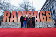 (L-R) Jeffrey Dean Morgan, Naomie Harris, Dwayne Johnson, Malin Akerman and Brad Peyton attend the European Premiere of 'Rampage' at Cineworld Leicester Square on April 11, 2018 in London, England.