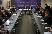 """(L-R) Sen. Rand Paul (R-KY), Center for the National Interest Vice Chairman Dov Zakheim and Sen. Chris Murphy sit at the head of the table to discuss legislation to halt the sale of some weapons to Saudi Arabia at the center September 19, 2016 in Washington, DC. After the Department of Defense announced the sale of $1.5 billion of arms to Saudi Arabia, Senators Paul, Murphy, Al Franken (D-MN) and Mike Lee (R-UT) are attempting to block the sale by using a provision of the Arms Export Control Act of 1976 that """"provides for special procedures whereby a senator can force a vote on an arms sale by the president."""""""