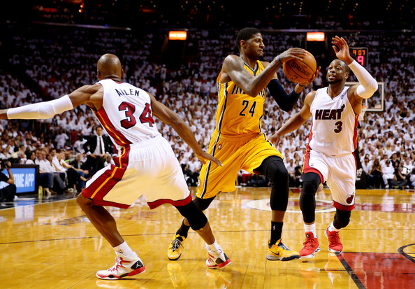 Indiana Pacers v Miami Heat - Game 6 [photograph,player,basketball court,sports,basketball moves,basketball player,basketball,tournament,team sport,ball game,sport venue,paul george,user,ray allen,dwyane wade 3,game,basket,miami,indiana pacers,miami heat]
