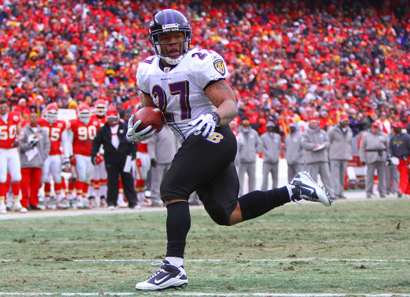 Ray Rice Running back Ray Rice #27 of the Baltimore Ravens scores a touchdown against the Kansas City Chiefs in the second quarter of their 2011 AFC wild card playoff game at Arrowhead Stadium on January 9, 2011 in Kansas City, Missouri.