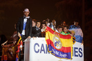 Real Madrid players Sergio Ramos, Cristiano Ronaldo, Pepe, Bale, Jesus Fernandez and Angel Di Maria arrive on a bus to celebrate their victory on the UEFA Champions League Final match against Club Atletico de Madrid at Cibeles Square on May, 25, 2014 in Madrid, Spain. Real Madrid CF has achieved their 10th European Cup at Lisbon, 12 years after their last one.