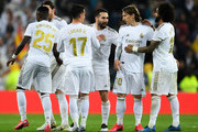 Real Madrid CF players celebrate at the end of the Liga match between Real Madrid CF and FC Barcelona at Estadio Santiago Bernabeu on March 01, 2020 in Madrid, Spain.