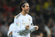 Sergio Ramos of Real Madrid CF celebrates at the end of the Liga match between Real Madrid CF and FC Barcelona at Estadio Santiago Bernabeu on March 01, 2020 in Madrid, Spain.