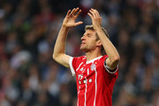 Thomas Mueller of Bayern Muenchen reacts during the UEFA Champions League Semi Final Second Leg match between Real Madrid and Bayern Muenchen at the Bernabeu on May 1, 2018 in Madrid, Spain.