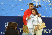 Cristiano Ronaldo of Real Madrid celebrates his sides victory with his girlfriend Georgina Rodriguez following winning the UEFA Champions League Final between Real Madrid and Liverpool at NSC Olimpiyskiy Stadium on May 26, 2018 in Kiev, Ukraine.