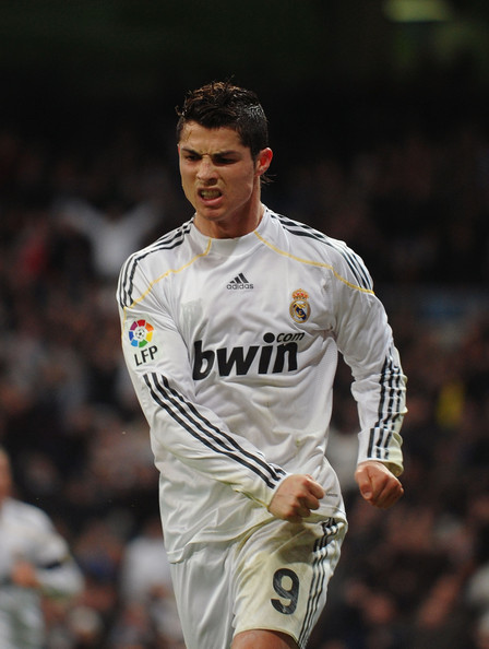 Cristiano Ronaldo of Real Madrid celebrates after scoring his first goal for Real during the La Liga match between Real Madrid and Malaga at the Santiago Bernabeu stadium on January 24, 2010 in Madrid, Spain.