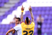 Arturo Vidal of Barcelona celebrates after scoring his team's first goal during the Liga match between Real Valladolid CF and FC Barcelona at Jose Zorrilla on July 11, 2020 in Valladolid, Spain. Football Stadiums around Europe remain empty due to the Coronavirus Pandemic as Government social distancing laws prohibit fans inside venues resulting in all fixtures being played behind closed doors.