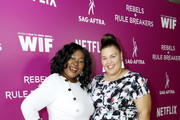 Kia Stevens and Britney Young attend the Rebels and Rule Breakers Panel at Netflix FYSEE at Raleigh Studios on May 12, 2018 in Los Angeles, California.