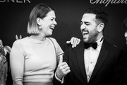 Image has been converted to black and white.)  Jessica Schwarz and Elyas M'Barek attend the 71tst Bambi Awards at Festspielhaus Baden-Baden on November 21, 2019 in Baden-Baden, Germany.