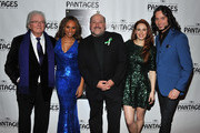 (L-R) Lyricist Leslie Bricusse, singer Deborah Cox, composer Frank Wildhorn, singer Teal Wicks and actor Constantine Maroulis arrive at the opening night of 'Jekyll & Hyde' held at the Pantages Theatre on February 12, 2013 in Hollywood, California.