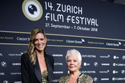 Zurich Film Festival director Nadja Schildknecht and Judi Dench attend the 'Red Joan' premiere and Golden Icon Award during the 14th Zurich Film Festival at Festival Centre on October 03, 2018 in Zurich, Switzerland.