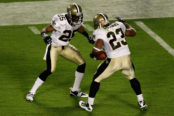 Pierre Thomas and Reggie Bush - Super Bowl XLIV