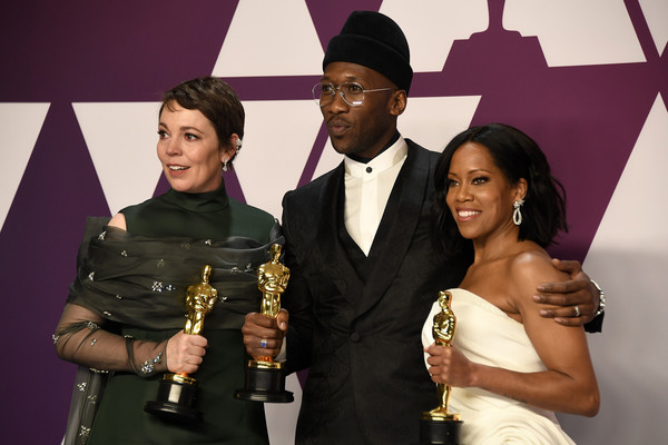 91st Annual Academy Awards - Press Room [the favourite,event,fashion,award,photography,formal wear,fashion accessory,style,mahershala ali,regina king,winner,olivia colman,academy awards,l-r,best actress,room,hollywood]