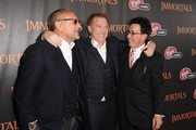 """(L-R) Producer Gianni Nunnari, Producer/ CEO Relativity Media Ryan Kavanaugh and producer Mark Canton arrive at Relativity Media's """"Immortals"""" premiere presented in RealD 3 at Nokia Theatre L.A. Live on November 7, 2011 in Los Angeles, California."""
