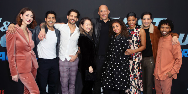 """Premiere Of Netflix's """"Fast And Furious: Spy Racers"""" - Arrivals [fast and furious: spy racers,people,event,social group,fashion,premiere,fashion design,smile,formal wear,family,arrivals,camille ramsey,vin diesel,renee elise goldsberry,l-r,similce diesel,netflix,premiere,premiere]"""