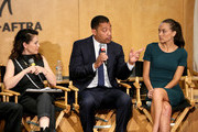 (L-R) Actress Alyssa Milano, SAG-AFTRA National Executive Director David White and actress Heidi Johanningmeier speak during a SAG-AFTRA Panel Discussion on Deepfakes at SAG-AFTRA on May 6, 2019 in Los Angeles, California.
