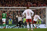 Nicklas Bendtner of Denmark scores his sides fifth goal from the penalty spot past Darren Randolph of the Republic of Ireland during the FIFA 2018 World Cup Qualifier Play-Off: Second Leg between Republic of Ireland and Denmark at Aviva Stadium on November 14, 2017 in Dublin, Ireland.