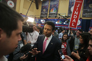 Presidential candidate Louisiana Governor Bobby Jindal talks to media in the spin room after the first CNBC Republican Presidential Debate at University of Colorado's Coors Events Center October 28, 2015 in Boulder, Colorado. Fourteen Republican presidential candidates are participating in the third set of Republican presidential debates.