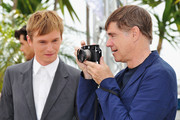 """Actor Henry Hopper (L) and director Gus Van Sant attend the """"Restless"""" photocall during the 64th Annual Cannes Film Festival on May 13, 2011 in Cannes, France."""