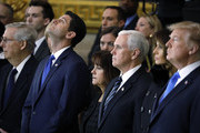 (AFP-OUT) Senate Majority Leader Mitch McConnell (R-KY), Speaker of the House Paul Ryan (R-WI), second lady Karen Pence, U.S. Vice President Mike Pence, first lady Melania Trump and President Donald Trump attend the cermonies as the late evangelist Billy Graham lies in repose at the U.S. Capitol, on February 28, 2018 in Washington, DC. Rev. Graham is being honored by Congress by lying in repose inside of the U.S. Capitol Rotunda for 24 hours.