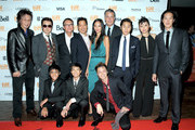 """(L-R back row) Actors Geoff Lee and Shing Ka, director Andrew Lau, director Andrew Loo, actress Shuya Chang, Chief Executive Officer of IM Global and producer Stuart Ford, actor Justin Chon, actress Celia Au, actor Leonard Wu (L-R front row) actors Michael Gregory Fung, Alex Fox and Carl Li attend the """"Revenge Of The Green Dragons"""" premiere during the 2014 Toronto International Film Festival at Ryerson Theatre on September 10, 2014 in Toronto, Canada."""