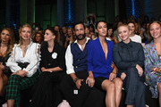 Jana Julie Kilka, Caro Cult, Lisa Tomaschewsky, Massimo Sinato, Rebecca Mir, Anna Maria Muehe and Sonja Gerhardt attend the Riani show during the Berlin Fashion Week Spring/Summer 2019 at ewerk on July 4, 2018 in Berlin, Germany.