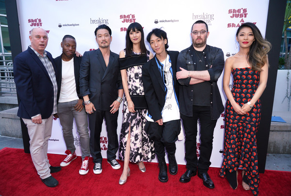 Premiere Of Breaking Glass Pictures' 'She's Just A Shadow' - Arrivals [breaking glass pictures,shes just a shadow,red carpet,carpet,event,red,premiere,flooring,fashion,dress,fashion design,ceremony,rick wolf,adam sherman,arrivals,actors,l-r,arclight hollywood,premiere,premiere]