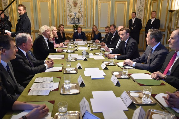 French President Emmanuel Macron Receives One Planet Summit's International Philanthropists at Elysee Palace in Paris