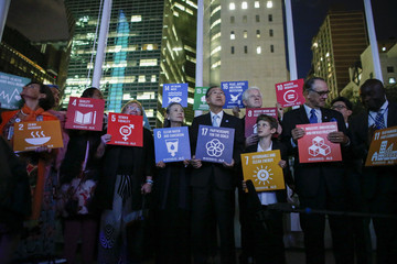 Richard Curtis Global Goals Projected Onto United Nations Building