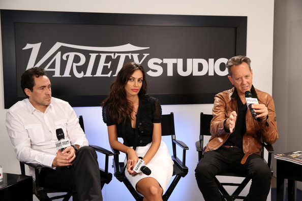 Celebs at Toronto's Variety Studio  [event,conversation,interview,white-collar worker,brand,news conference,celebs,demian bichir,madalina ghenea,richard e. grant,toronto,variety studio,canada,holt renfrew,moroccanoil,toronto international film festival]