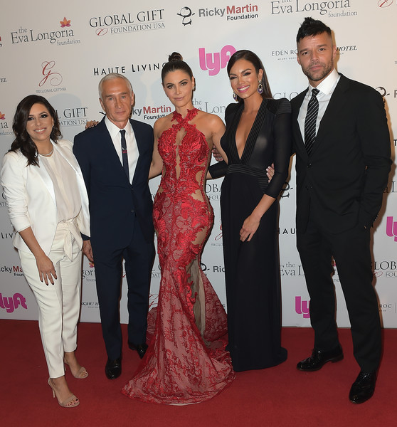 Art Basel Miami Beach 2017 - The Global Gift Foundation USA Benefit Hurricane Relief Efforts In Puerto Rico And Florida [red carpet,event,carpet,premiere,formal wear,flooring,dress,suit,ceremony,ricky martin,zuleyka rivera,chiquinquira delgado,eva longoria,jorge ramos,the global gift foundation usa benefit hurricane relief efforts,art basel miami beach,florida,puerto rico,nobu eden roc hotel]