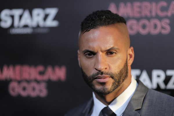 Premiere Of Starz's 'American Gods' - Arrivals [american gods,hair,face,forehead,head,facial hair,nose,hairstyle,chin,cheek,beard,ricky whittle,california,hollywood,arclight cinemas cinerama dome,starz,premiere,premiere]