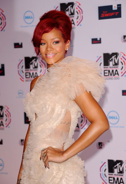 Rihanna Musician Rihanna attends the MTV Europe Awards 2010 at the La Caja Magica on November 7, 2010 in Madrid, Spain.