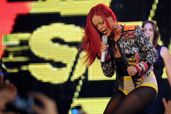"""Rihanna Visits MTV's """"The Seven"""" - November 15, 2010 [the seven,performance,performing arts,girl,product,event,costume,competition event,singer rihanna,new york city,times square,mtv]"""