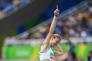 Marie-Amelie Le Fur of France celebrates after setting a new world record in the Women's Long Jump - T44 final during the Rio 2016 Paralympic Games at Olymic stadium on September 9, 2016 in Rio de Janeiro, Brazil.