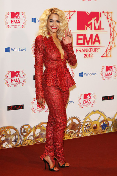 Rita Ora Singer Rita Ora poses backstage in the photo room the MTV EMA's 2012 at Festhalle Frankfurt on November 11, 2012 in Frankfurt am Main, Germany.