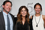 Actor Ed Burns (L) and model Christy Turlington Burns (R) pose with actress/ singer Rita Wilson (C) backstage prior to her performance at 54 Below on April 14, 2013 in New York City.
