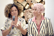 """(L-R) Bridgid Coulter and Rebecca King-Crews speak during The Riveter's """"Elevating Women In Their Work"""" Pop-Up Event at Farmhouse on August 23, 2019 in Los Angeles, California."""