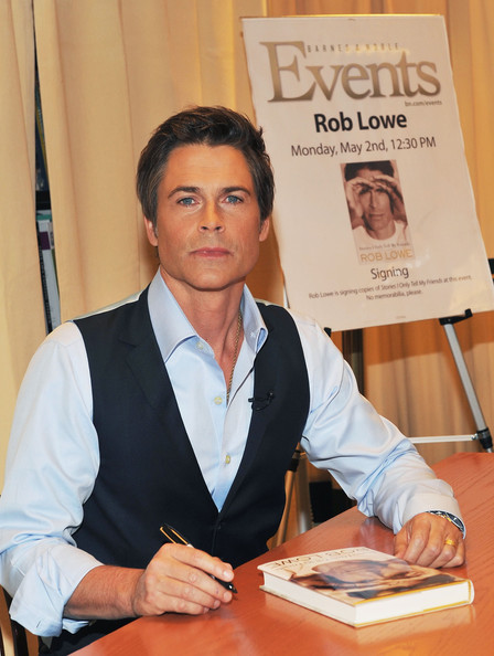 "Actor Rob Lowe signs copies of his book ""Stories I Only Tell My Friends"" at Barnes & Noble, 5th Avenue on May 2, 2011 in New York City."