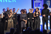 (L-R) Alfre Woodard, Gloria Steinem, Nessa and Colin Kaepernick perform onstage during Robert F. Kennedy Human Rights Hosts Annual Ripple Of Hope Awards Dinner on December 13, 2017 in New York City.