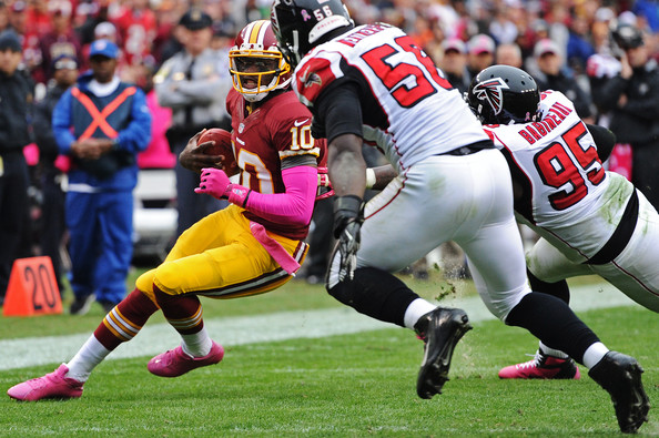 Robert Griffin III was concussed on this play against Atlanta