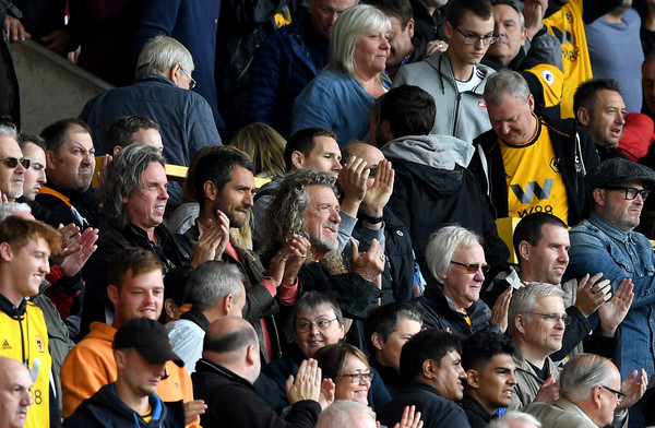 Wolverhampton Wanderers vs. Manchester City - Premier League [people,product,crowd,fan,social group,audience,team,event,cheering,competition event,robert plant,v,crowds,wolverhampton,united kingdom,manchester city,wolverhampton wanderers,premier league,led zeppelin,match]